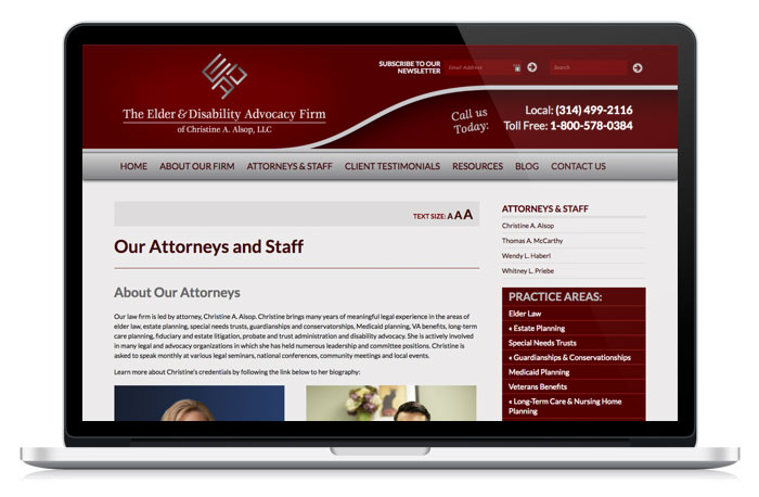 Alsop Elder Law website home page