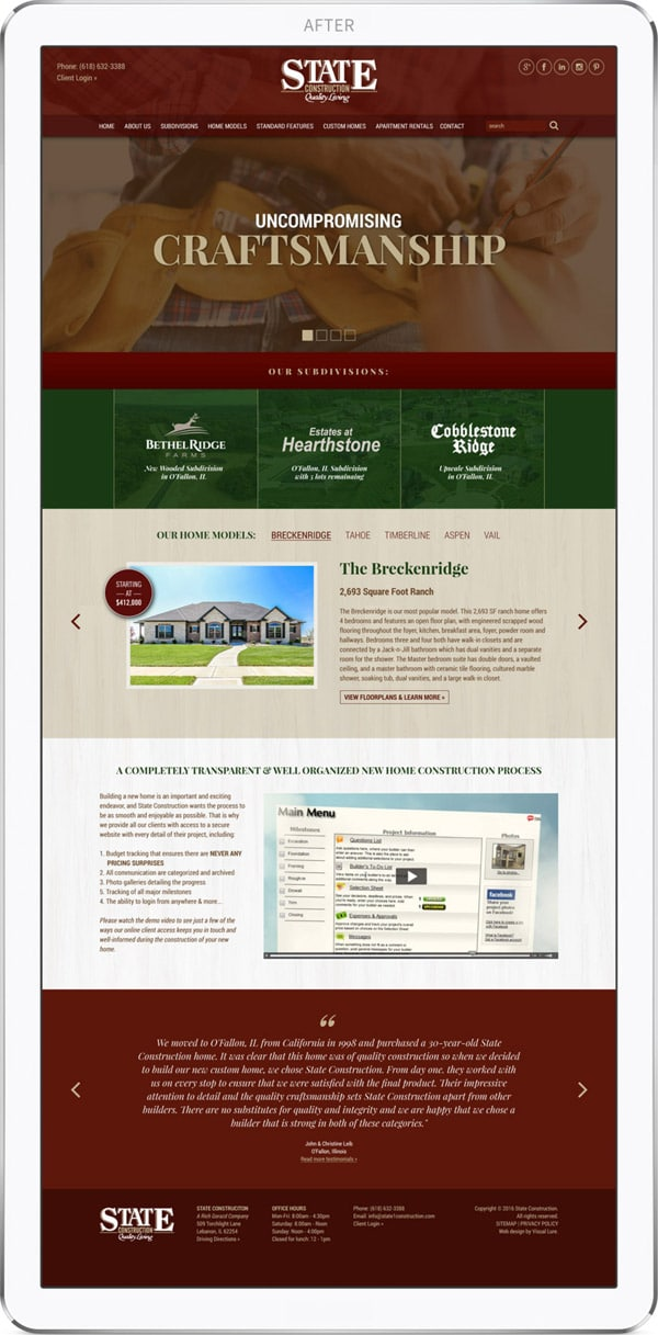 State Construction new website design