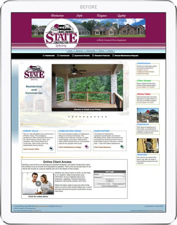 State Construction old website design