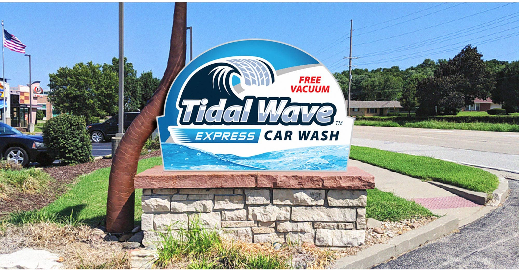 Tidal Wave Express Monument Sign Design