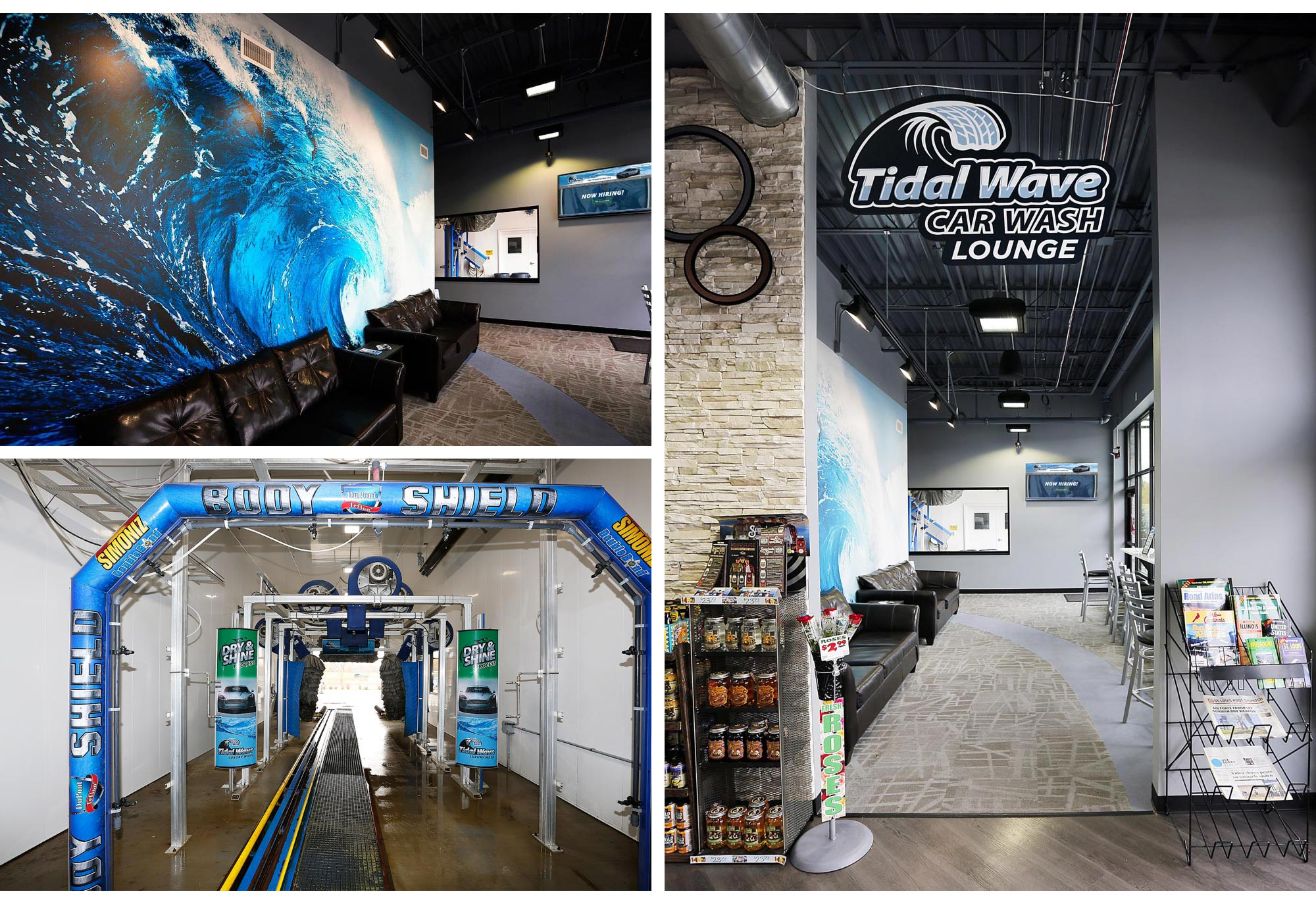 Tidal Wave waiting room sign & tunnel graphics