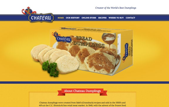 Chateau Dumplings Web Design