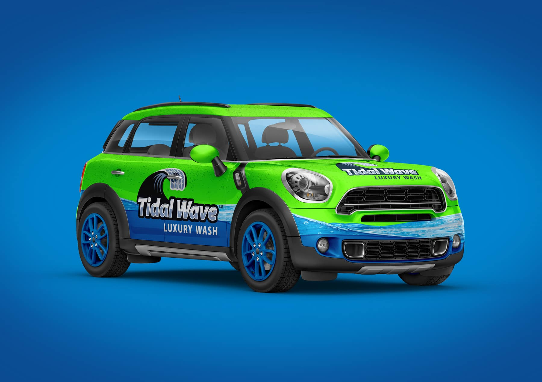 Tidal Wave brand vehicle wrap design