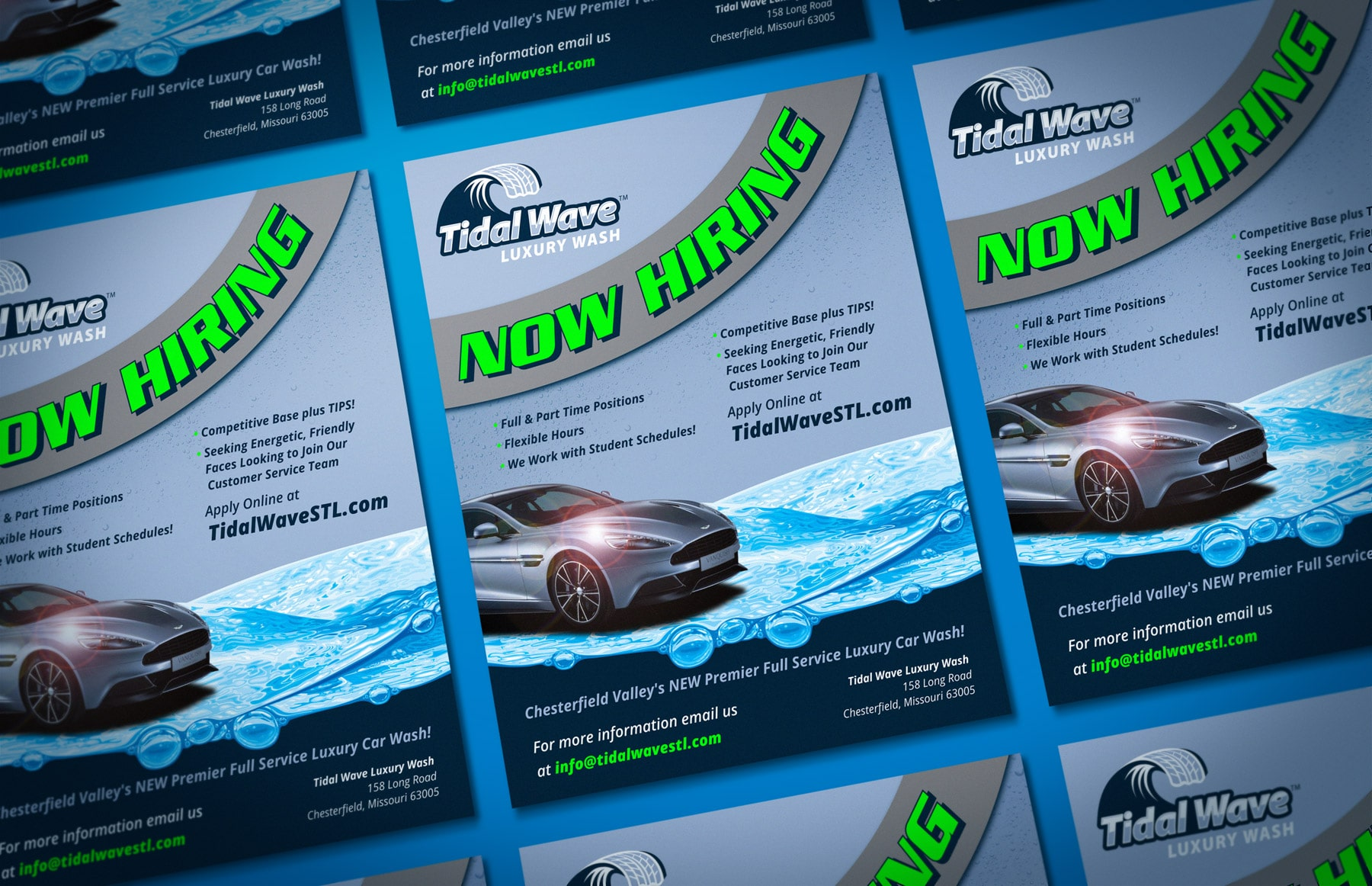 Tidal Wave Now Hiring Flyer Design branding