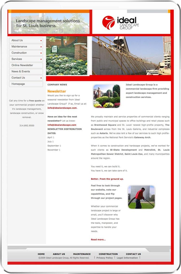 old Ideal Landscape homepage design