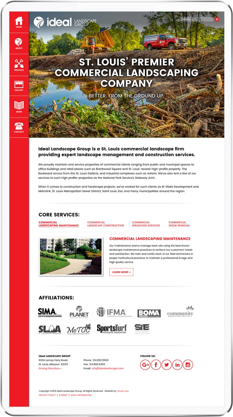 new Ideal Landscape homepage design