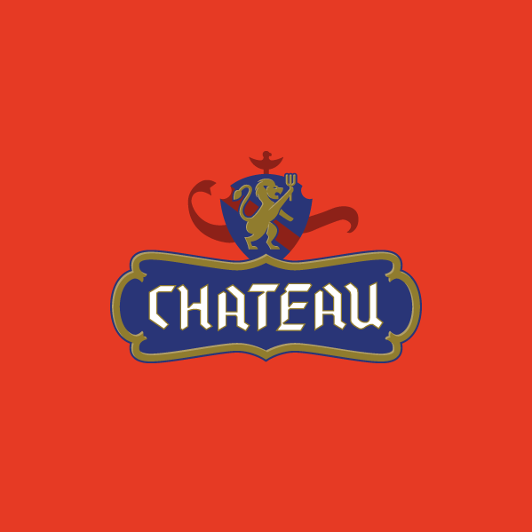 Chateau logo design red BG