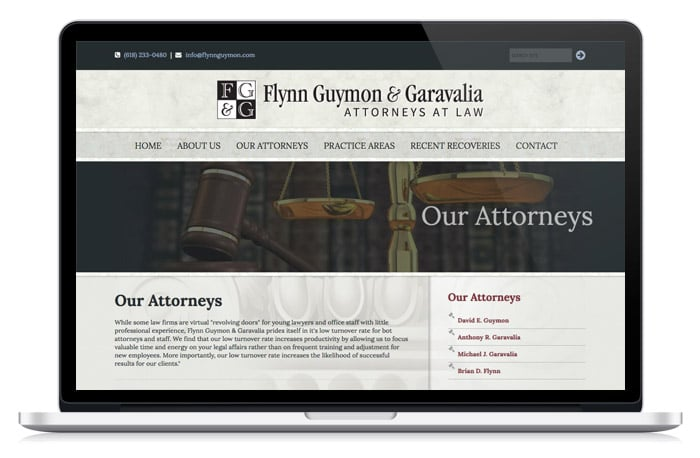 Flynn Law Firm Attorney web page