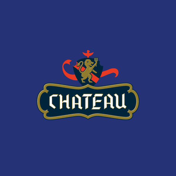 Chateau logo design blue BG