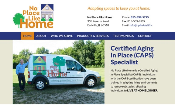 No Place Like Home website design