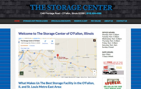 The Storage Center WordPress website
