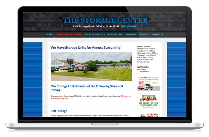 The storage center web design