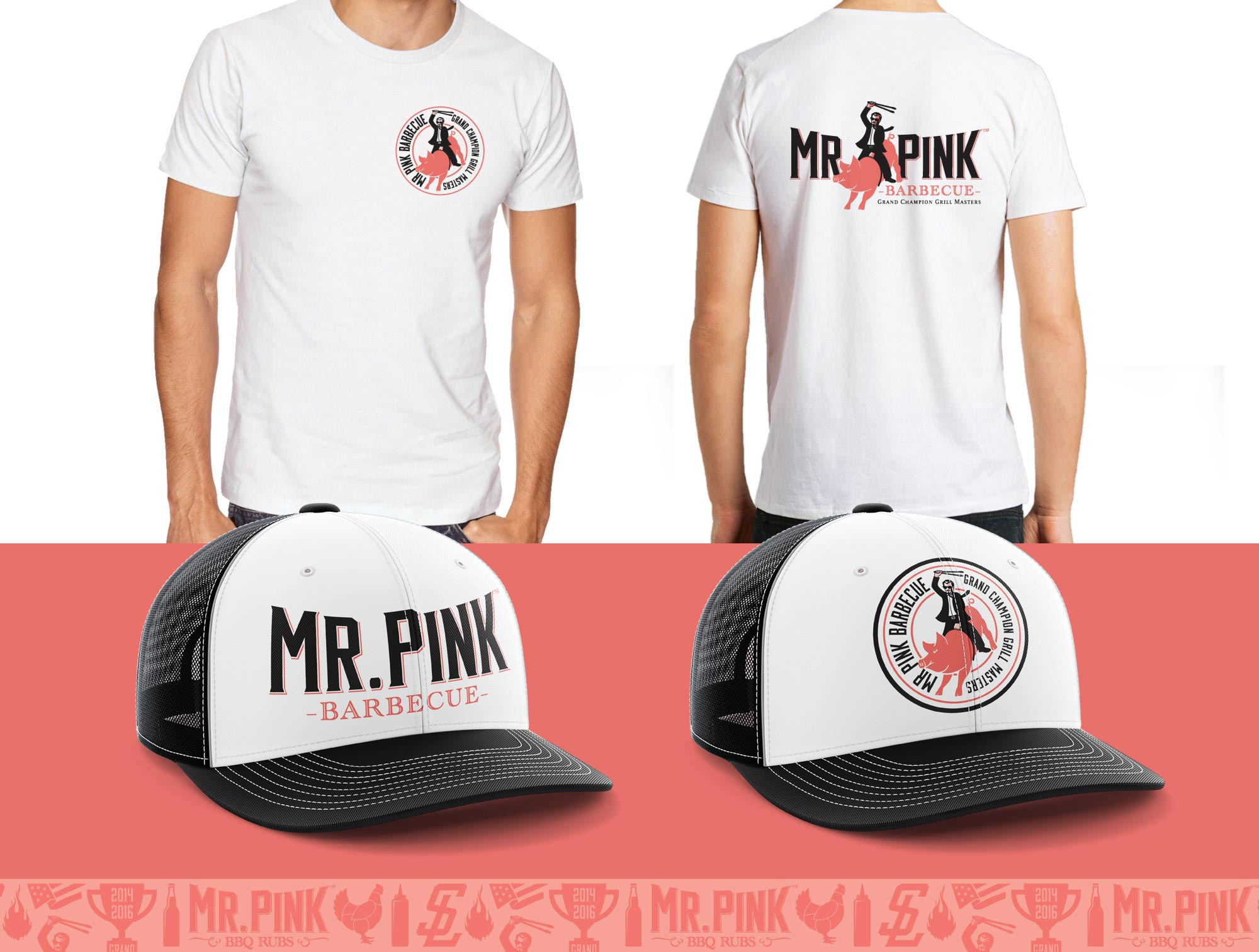 Mr. Pink BBQ t-shirt and hats designs