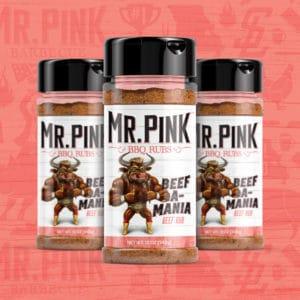 Mr. Pink Beef Rubs packaging