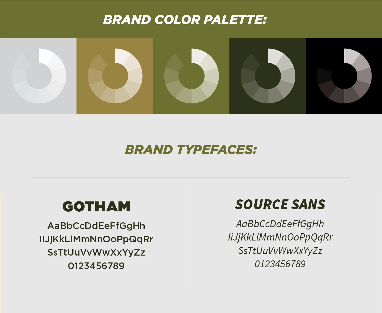 TPL color palette & typefaces