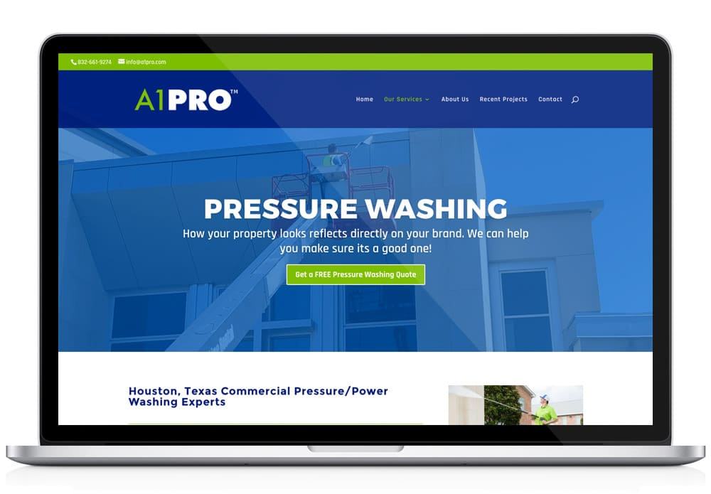 A1PRO sample website page
