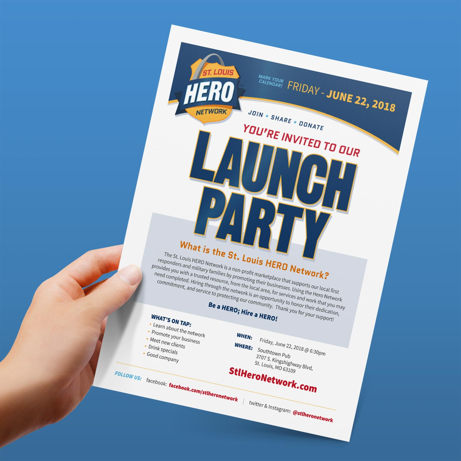 STL Hero Network Launch Party Flyer