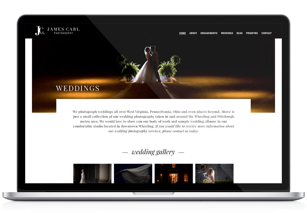 James Carl Photography Wedding Website