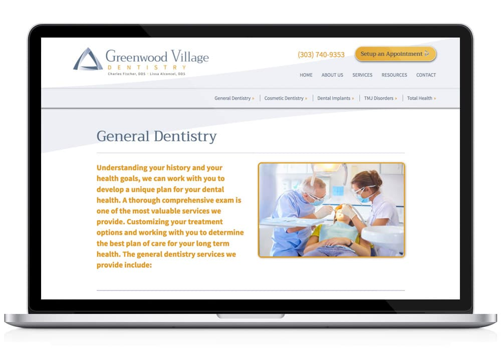 Greenwood Village Dentistry Web design