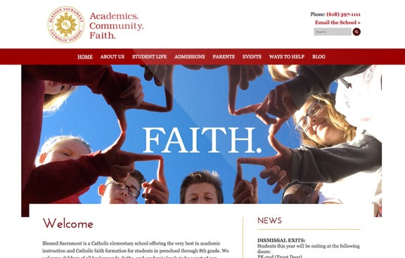 Blessed Sacrament Website Design