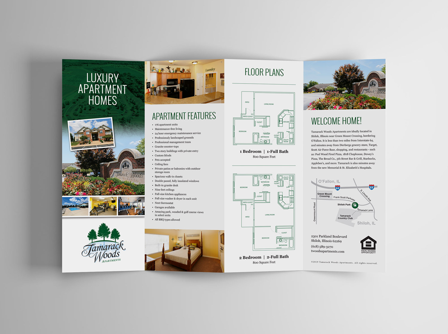 Tamarack accordion brochure design front