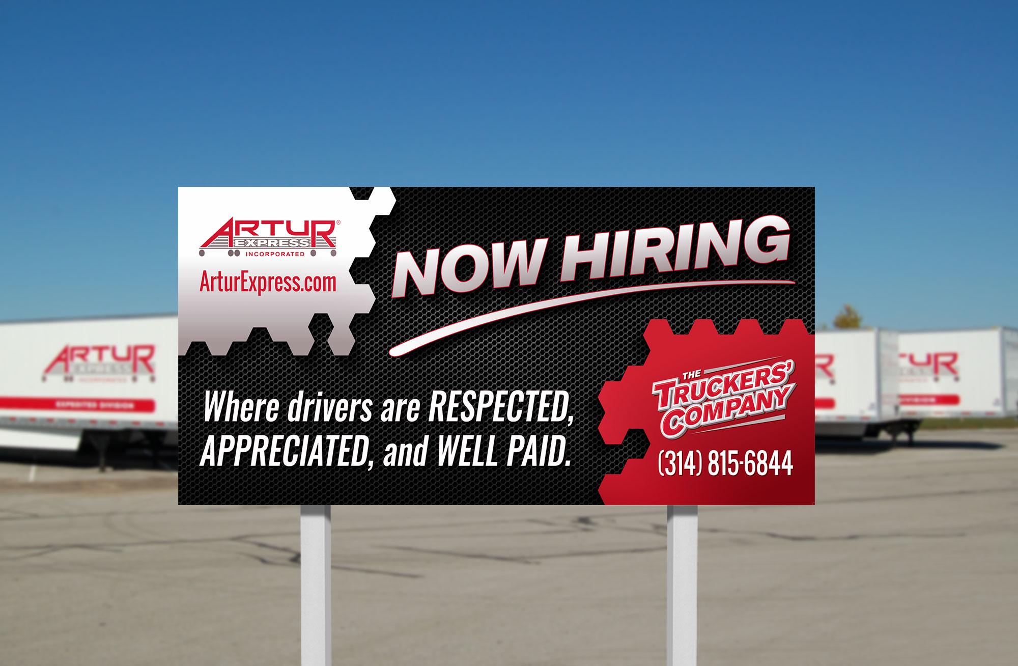 Artur Now Hiring sign design