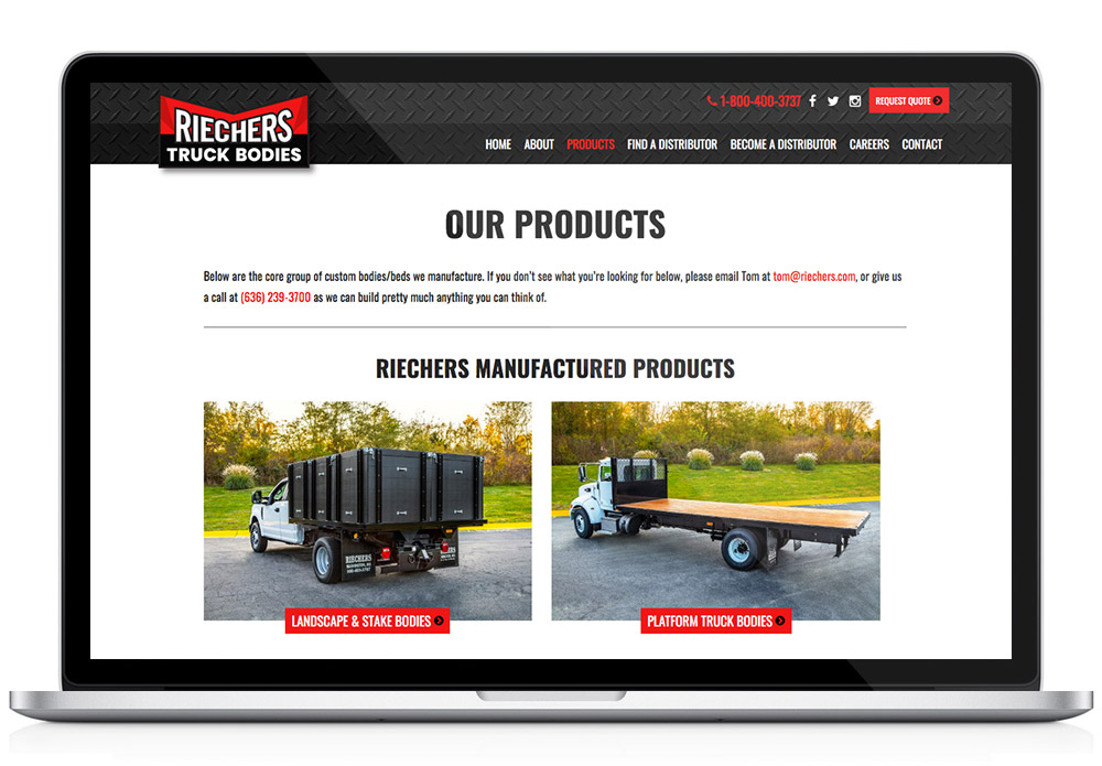 Riechers Products web page