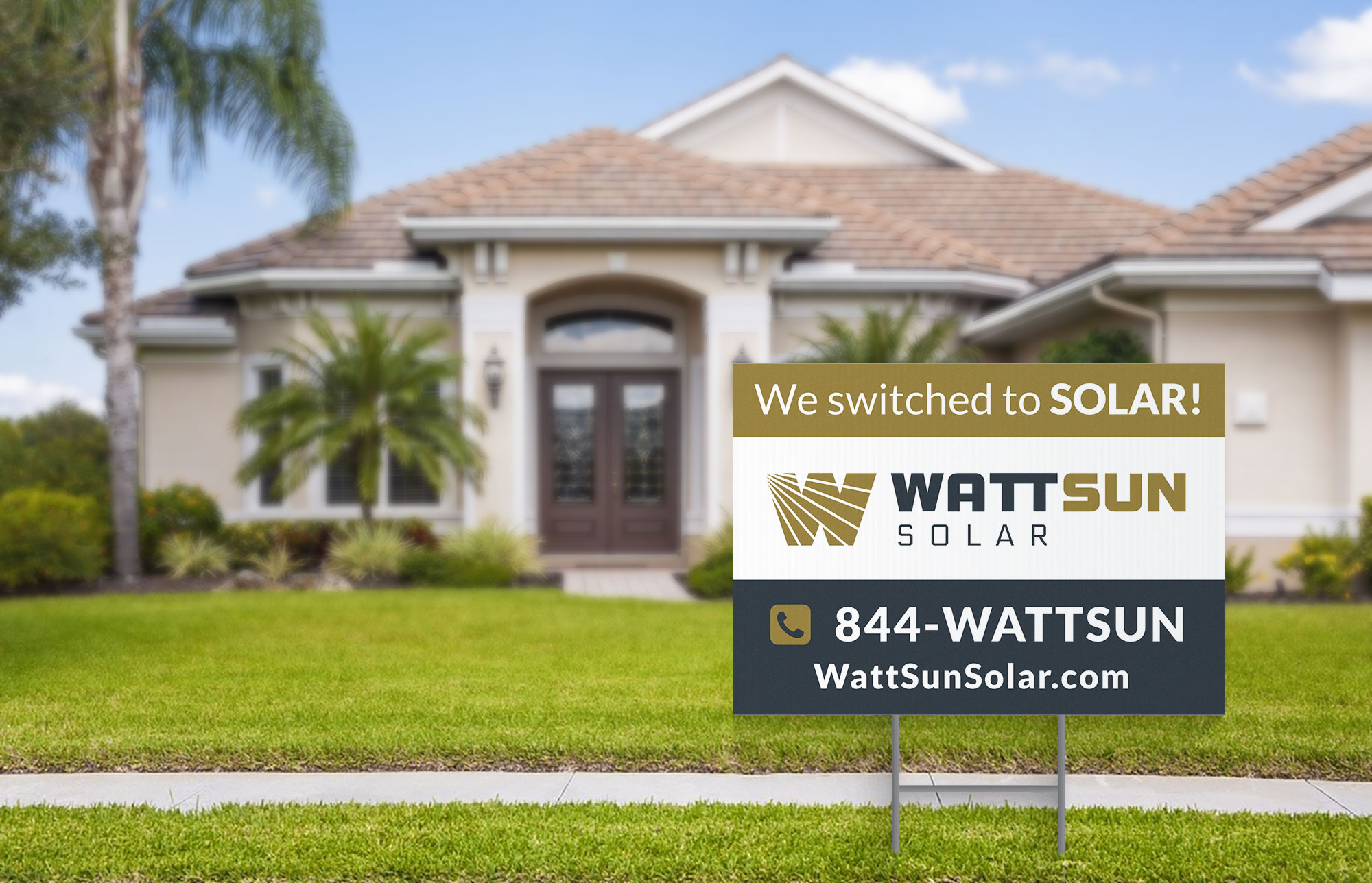 WattSun yard sign design