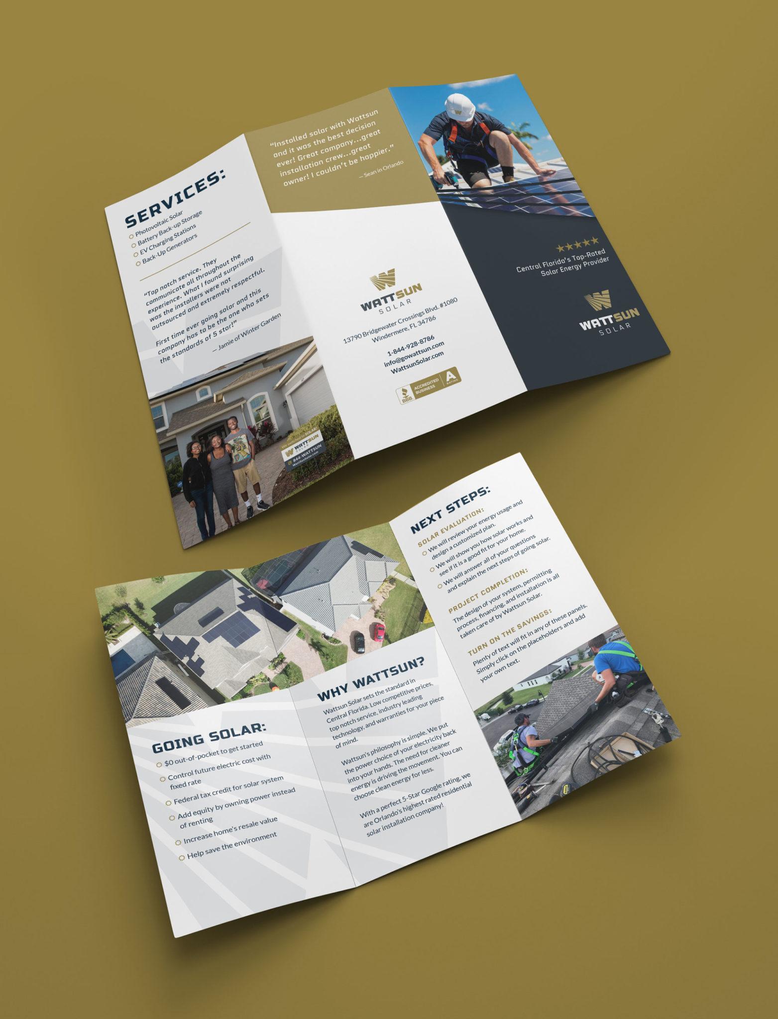 Wattsun trifold brochure design