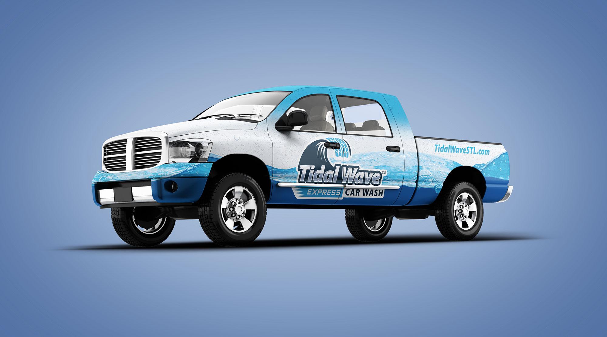 Tidal truck vehicle wrap design