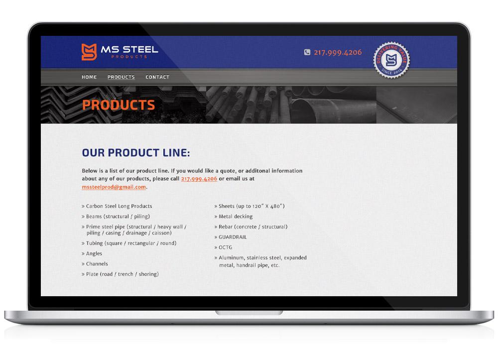 mssteel interior web design page