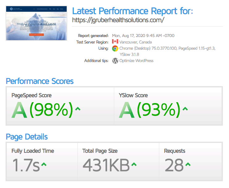 Gruber web speed score