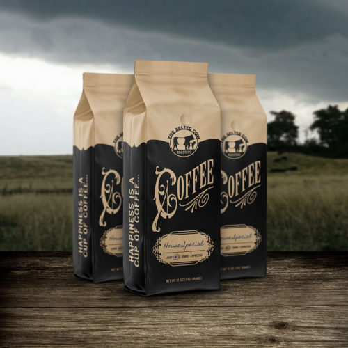 Belted Cow coffee packaging