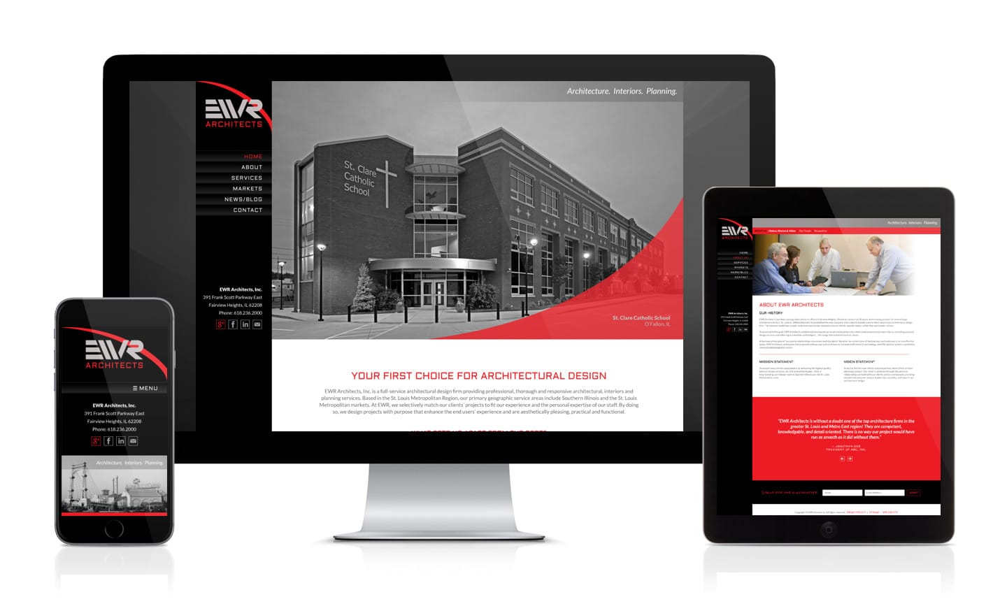 Responsive designs for St. Louis Metro East Architect WordPress website