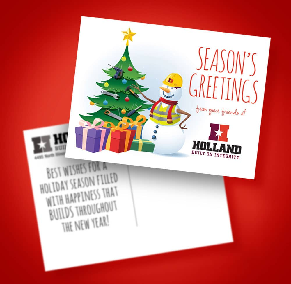 Holland Construction Christmas Card Graphic Design