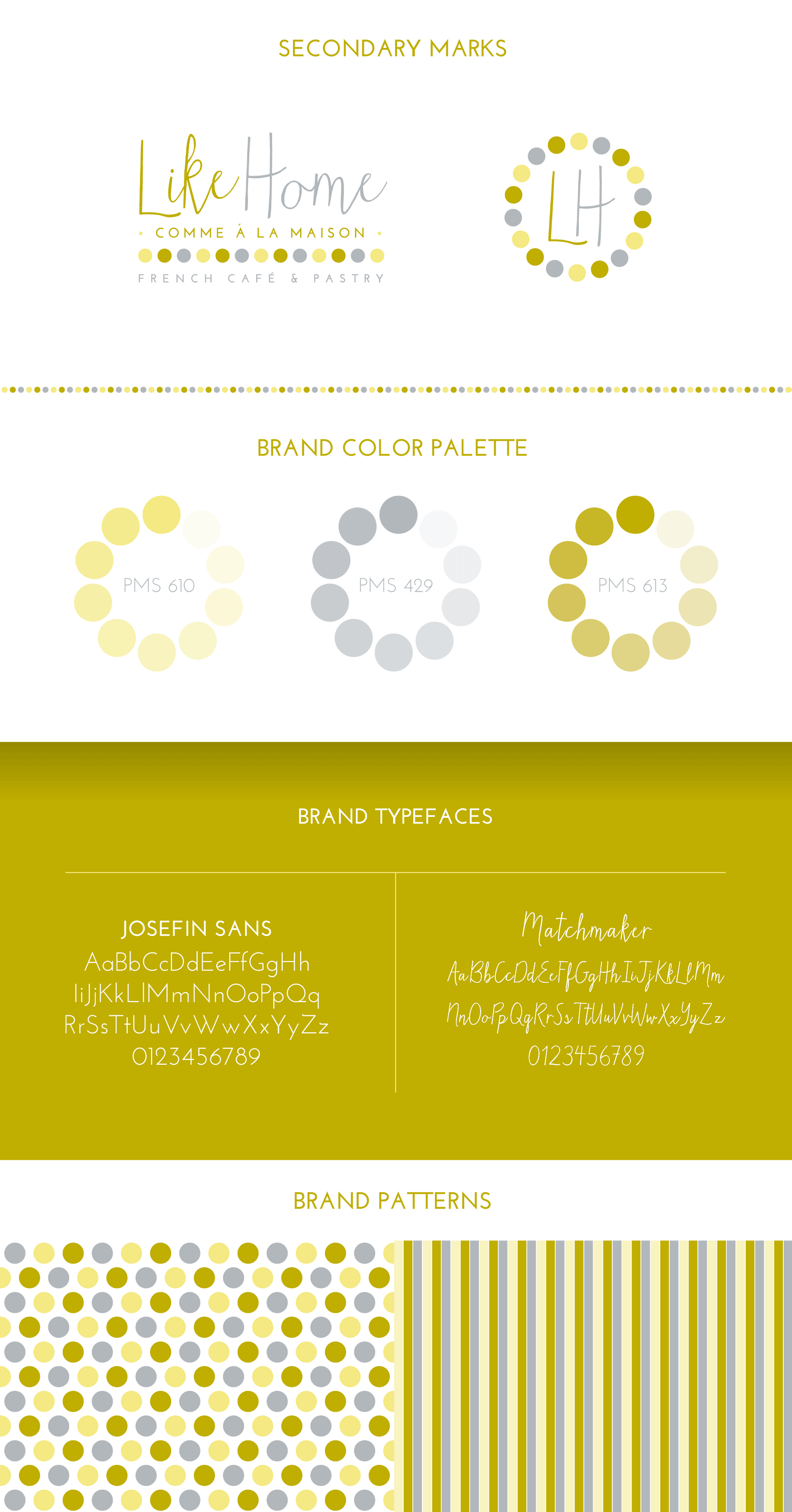 Secondary logo marks, brand colors, typefaces & patterns