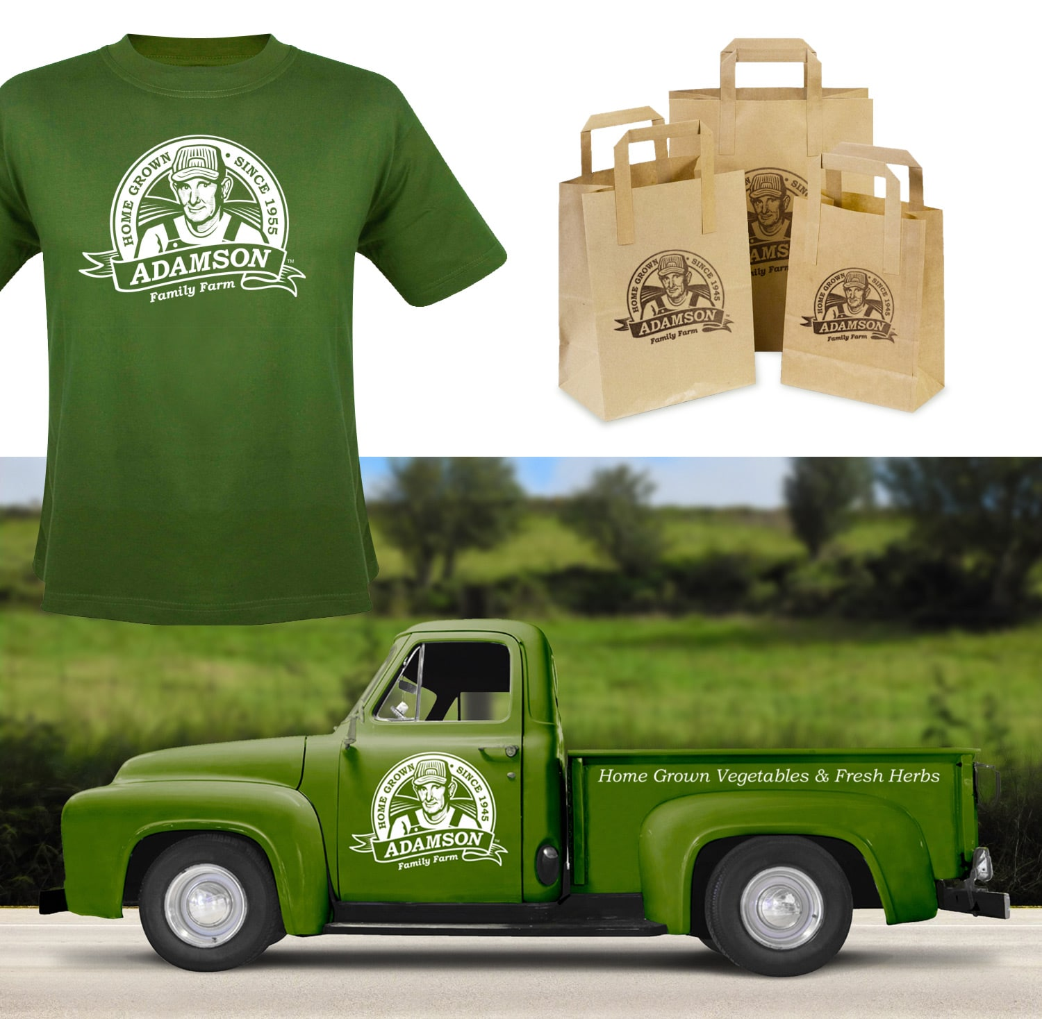 Adams Family Farm shirt, bags & truck