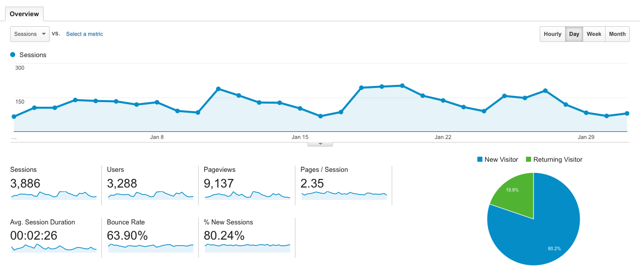BioBalance Website January's Google Analytics