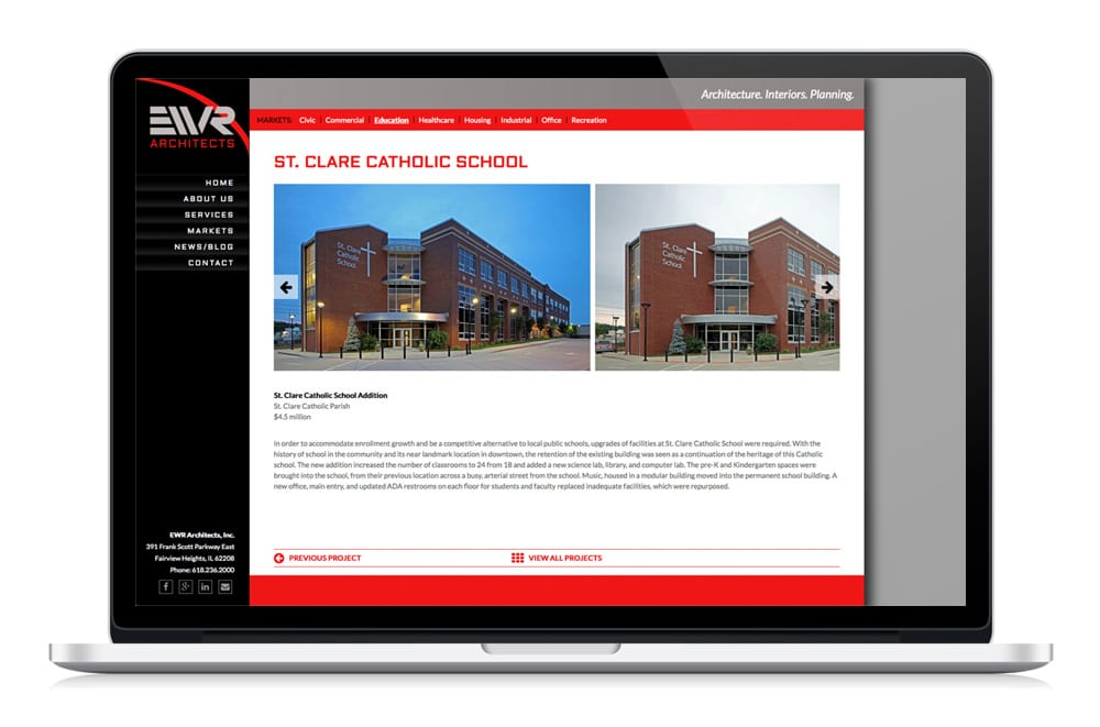 EWR website design custom projects page