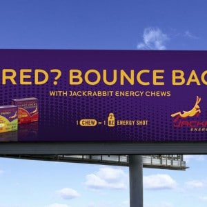 Billboard design for a St. Louis energy chew company